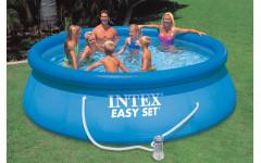 Надувной бассейн с надувным верхним кольцом 396х84см + фильтр-насос Intex 28142