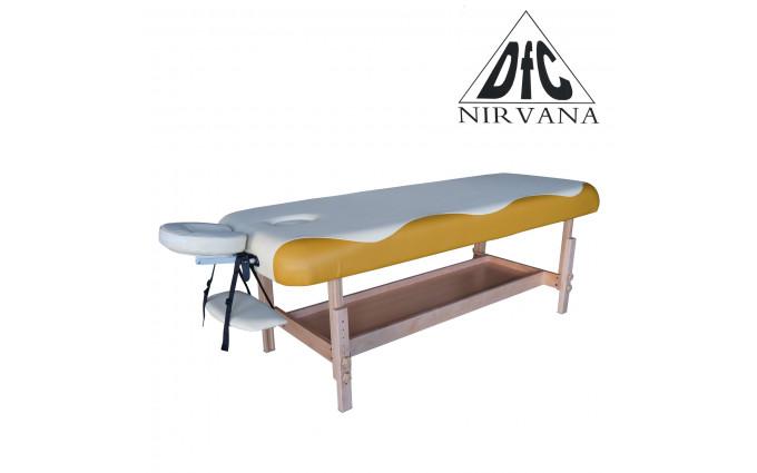 Массажный стационарный стол Dfc Nirvana, Superior, дерев. ножки, 1 секция, цвет беж.с оранж.