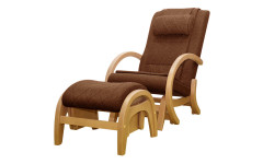 Массажное кресло-качалка EGO TWIST EG-2004 SHIMO Коричневый (Рогожка) с пуфом